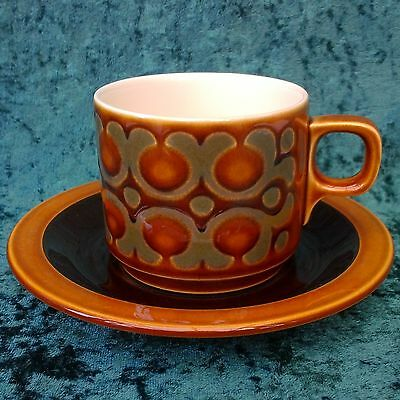 Vintage Retro Hornsea Pottery 'Bronte' Cup Saucer Tea Coffee Set Brown Green 70s