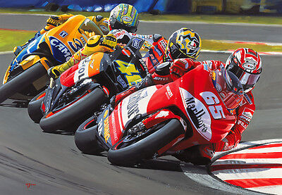 Loris Capirossi Alan Jones Motorbike Motorcycle Racing Art Painting Print