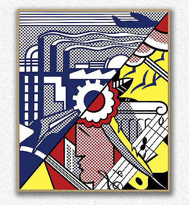 Roy Lichtenstein Industry and the arts 100x84cm STAMPA TELA CANVAS PRINT TOILE