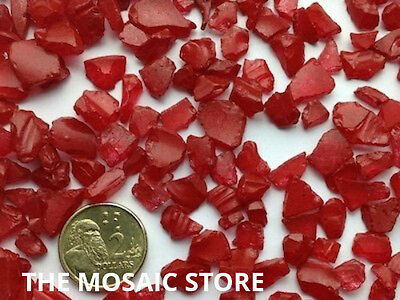 Red Tumbled Glass Pieces - Mosaic Tie Art & Craft Supplies