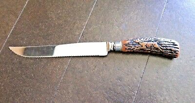 """Knifes Flatware Carving Knife 8"""" Blade Stainless Steel Stag Handle Vintage Chef"""