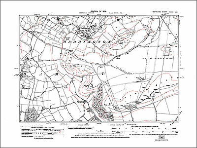 Heddington, Bromham E, Mother Anthony's Well, old map Wiltshire 1926: 34NW repro