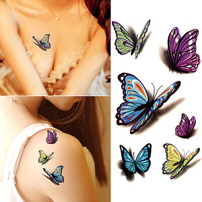 3D Body Art Stickers Temporary Tattoos Fake Butterfly For Kids and Adults
