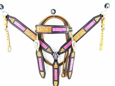 Western Horse Buckstitched  Pink Leather Bridle And Breastplate Set. Cob