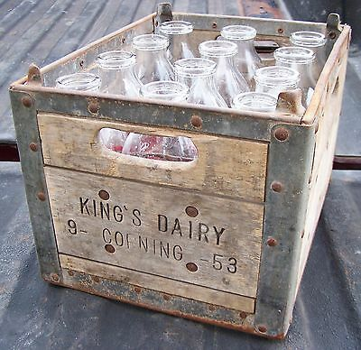 Rare 1958 vintage arden farm wood metal milk dairy crate for Where can i buy wooden milk crates