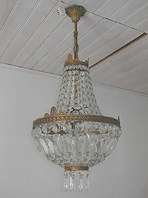 Antique French Bronze & Crystal Chandelier / Prisms / Antique Victorian Lustre