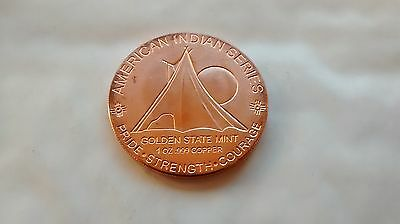 1 oz .999 Fine Copper Round / Coin - American Indian Series - Indian Horse