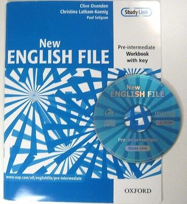 Oxford NEW ENGLISH FILE PRE - INTERMEDIATE WORKBOOK WITH KEY , CD - ROM Clive