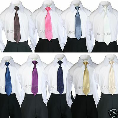 Stain Solid 9 COLORS Clip on Long Necktie Boy Formal Suit S-4T, 5-7, 8-14, 16-20