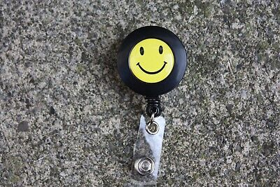 Smiley Face Retractable Reel ID Badge Holder/Key Chain /Security  Black/Yellow