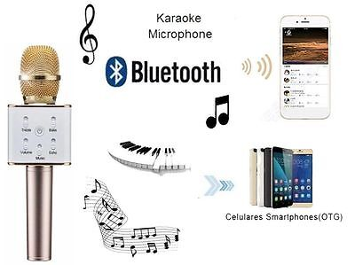 New Gold Q7 Home KTV Karaoke Microphone Player Bluetooth Speaker For PC Phone