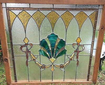 ANTIQUE AMERICAN SHELL STAINED GLASS transom window  ARCHITECTURAL SALVAGE