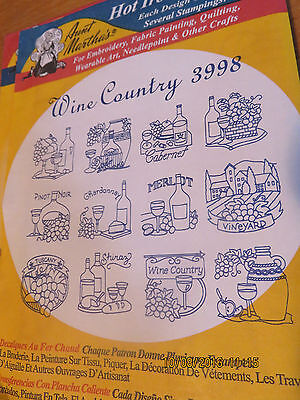 Vintage Aunt Marthas Hot Iron Transfer Pattern - Wine Country