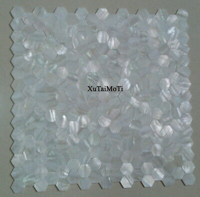 Hot 11PCS white hexagon shell mosaic mother of pearl kitchen bathroom wall tile