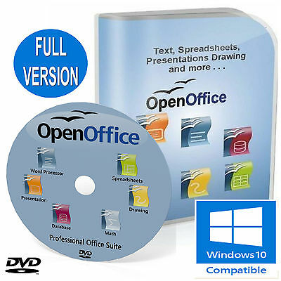 OPEN OFFICE PRO FULL OFFICE SUITE 2019 for Microsoft 7, 8, 8.1,10 Windows DVD