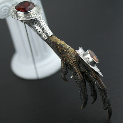 Antique solid silver stoned Scottish Eagle Claw Citrine pin brooch great gift