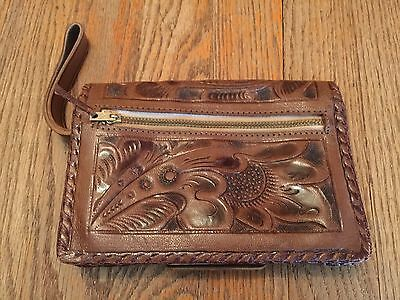 Genuine Leather Hand Tooled Wallet Clutch Gaitan Mexico