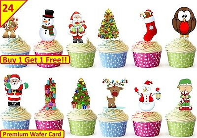 48 CHRISTMAS Cup Cake Fairy Bun Edible Wafer Rice Toppers Party Xmas Decorations