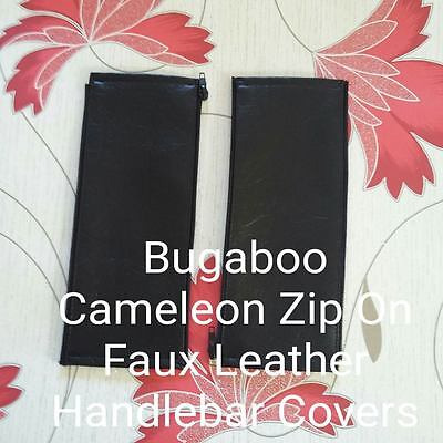 x2 Bugaboo Cameleon 1,2 3 Faux Leather Zip On Handlebar Covers