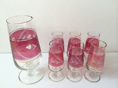 Vintage Cranberry Ruby Red Glass jug and Six Glasses.