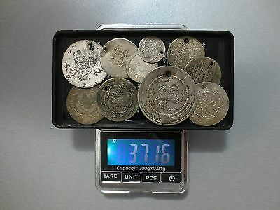 LOT of 10pcs LARGE SILVER OTTOMAN TURKISH TURKEY ISLAMIC COINS VERY RARE 37gram