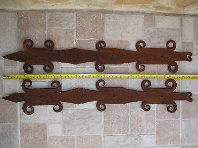 ANTIQUE19th C. TOTALLY Forged Wrough Iron DOOR Hinges Decorations Old Vintage