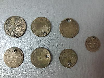 LOT 7pcs SILVER IMPERIAL RUSSIAN COIN 5,10,15,20 KOPEKS KOPEIKI 1867-68-69 HOLE • CAD $37.67