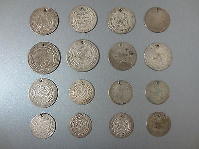 LOT of 16pcs LARGE SILVER OTTOMAN TURKISH TURKEY ISLAMIC COINS VERY RARE 85gram
