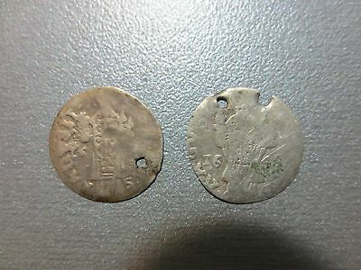 Lot of 2pcs Ancient Medieval Silver Coins 1646 Europe VERY RARE