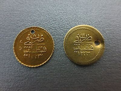 LOT 2 OTTOMAN GOLD COINS YARIM ZERI MAHBUB 1223 TURKEY ISLAMIC 1.55gram - 13.6mm