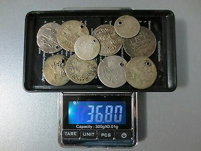 LOT of 10pcs LARGE SILVER OTTOMAN TURKISH TURKEY ISLAMIC COINS VERY RARE 36.8gr.