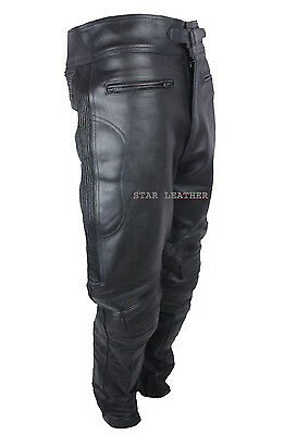 New Mens Black Real Leather CE Armoured Biker Trousers Motorbike Jeans Pants