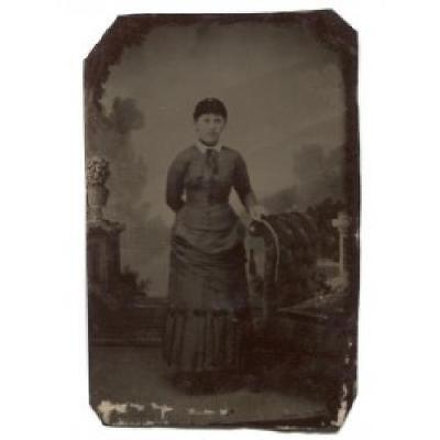 Woman in Dress by Scrollback Upholstered Chair Tintype Photograph Antique Photo