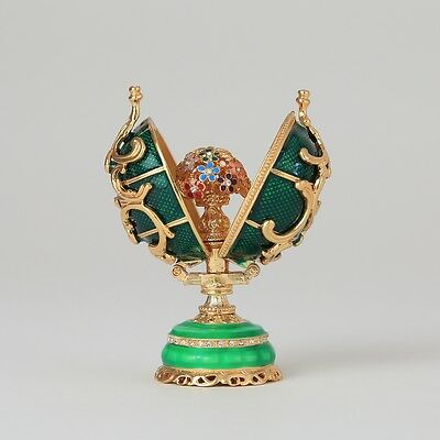 Faberge Egg trinket box with a bouquet