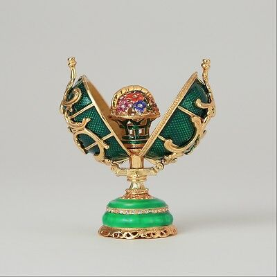 Faberge Egg trinket box with a basket of flowers