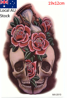 New Fashion Sexy Foses and Skull 19x12cm Waterproof Temporary Tattoo Stickers
