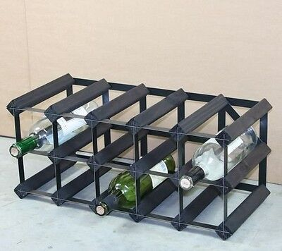 Classic 15 bottle black stained wood and black metal wine rack ready assembled.