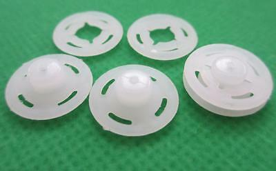 36 sets 15 mm Translucent Nearly White Round Plastic Snaps Fasteners Buttons