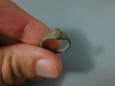 ORIGINAL BRONZE RING Metal Detector Find Ancient ROMAN / MEDIEVAL ARTIFACT #02