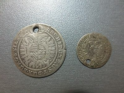 LOT 2pcs. SILVER COINS KREUZER Austria Medieval Europe Leopold 166.. and 1706