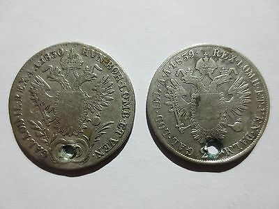 lot of 2pcs. 20 KREUZERS SILVER COINS 1830 & 1839 Austria Medieval Europe RARE