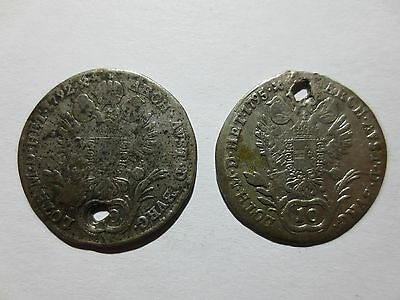 lot of 2pcs. 10 KREUZERS SILVER COINS 1792 & 1795 Austria Medieval Europe RARE