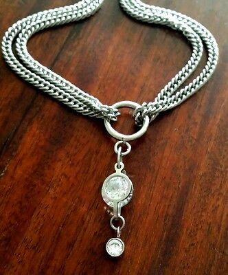 Customised Custom Hand Made Crystal Choker Chain Necklace Silver Stainless Steel