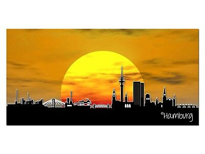 HD Glasbild EG4100500159 HAMBURG SONNE ORANGE 100 x 50 cm Wandbild STADT