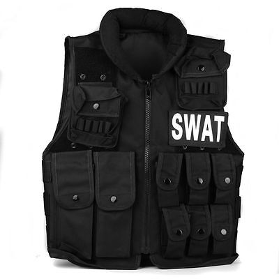 BLACK Military Tactical Molle Hunting Vest Paintball Jacket SWAT Airsoft Army AU