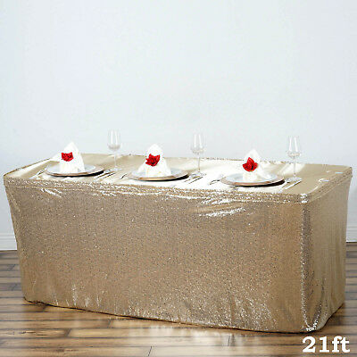 21 ft Champagne SEQUIN TABLE SKIRT Wedding Party Catering Trade Show Banquet