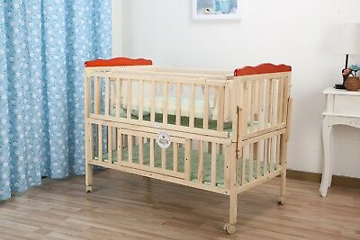 Kids Baby Cot Bed Crib (120 x 60) & 6 Pc Bumper Bed Set In Mickie Mouse & Dobby