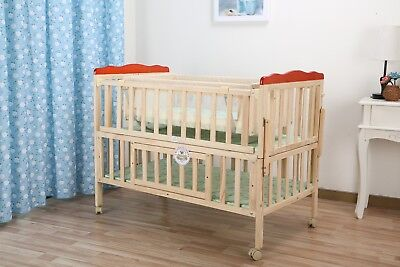 PINE With BABY Cot Bed Sleeping Room Lasse nature COTBED 120x60 SAFETY JUNIOR BE