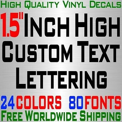 """Personalized 1.5"""" Custom Text Name Vinyl Decal Sticker Car Wall  16x Lettering"""