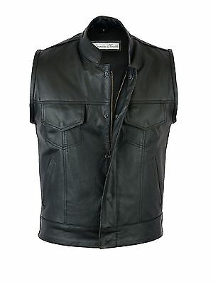 Mens Son Of Anarchy  Real Leather Motorcycle Biker Waistcoat/Vest S-5XL UK Stock